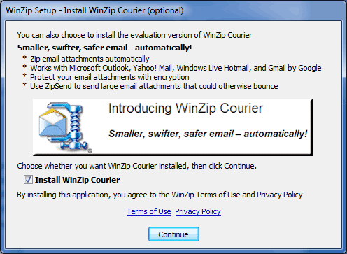 Winzip installation and configuration