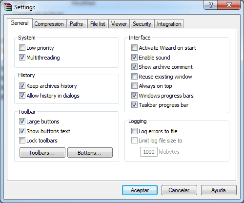 Winrar settings
