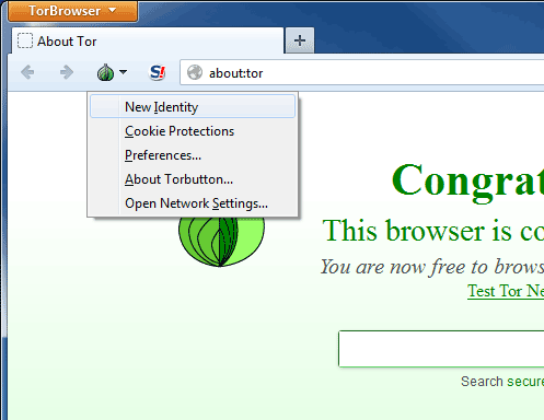 Tor browser configuration