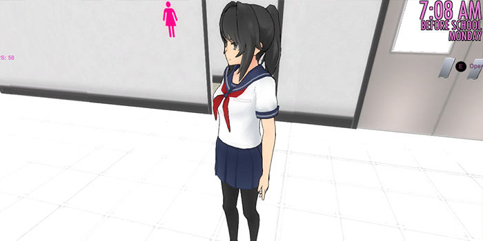 yandere chan in front the toilets